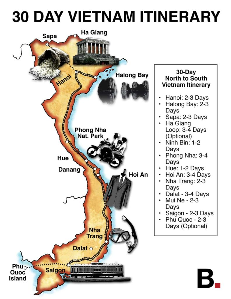 30days map tour 791x1024 Vietnam road trip by car from Hanoi to Ho Chi Minh