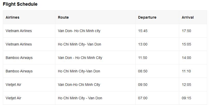 Flight schedule halong airport Halong airport Van Don Airport